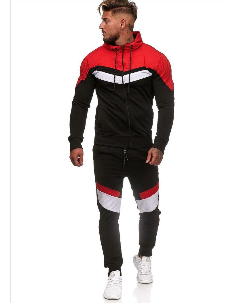Casual Sportswear Suit Gym Fitness Tracksuit Hoodies Pants Set Men Fashion Zipper Sweatshirt Male Cotton Joggers Sweatpants Coat