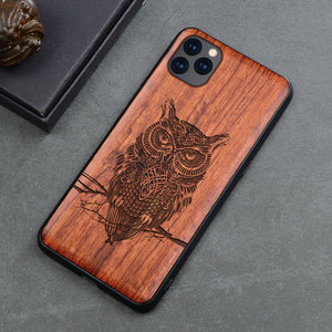 Image 3 - Carved Skull Wood Phone Case For iPhone 7 6 6s 8 plus X XR XS Max iPhone11 iPhone 11 pro Silicon Wooden Case Cover