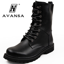 цены Men's Leather Motorcycle Boots Mid-calf High Ankle Military Combat Boots Lace Up Boots Men Shoes Black Brown Tactical Army Boot