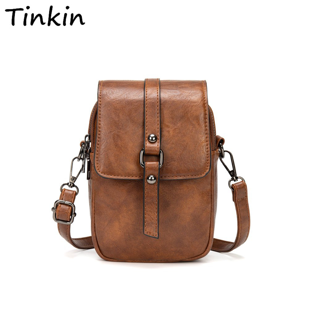 Multi-Functional Soft Leather Small Shoulder Bag Small Vintage Crossbody Bag Cash Purse With 2 Slots For Cellphone Bag