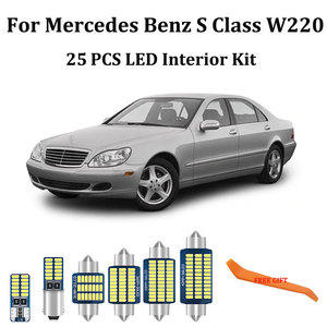25PCS White Canbus led Car interior lights Package Kit for Mercedes Benz S Class W220 led interior lights 1999- 2005