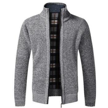 AIOPESON 2020 Autumn Winter New Men's Jacket Slim Fit Stand Collar Zipper Jacket Men Solid Cotton Thick Warm Jacket Men 1