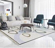 Hand painted fresh geometric pattern bedroom living room carpet painting floor 3d wallpaper