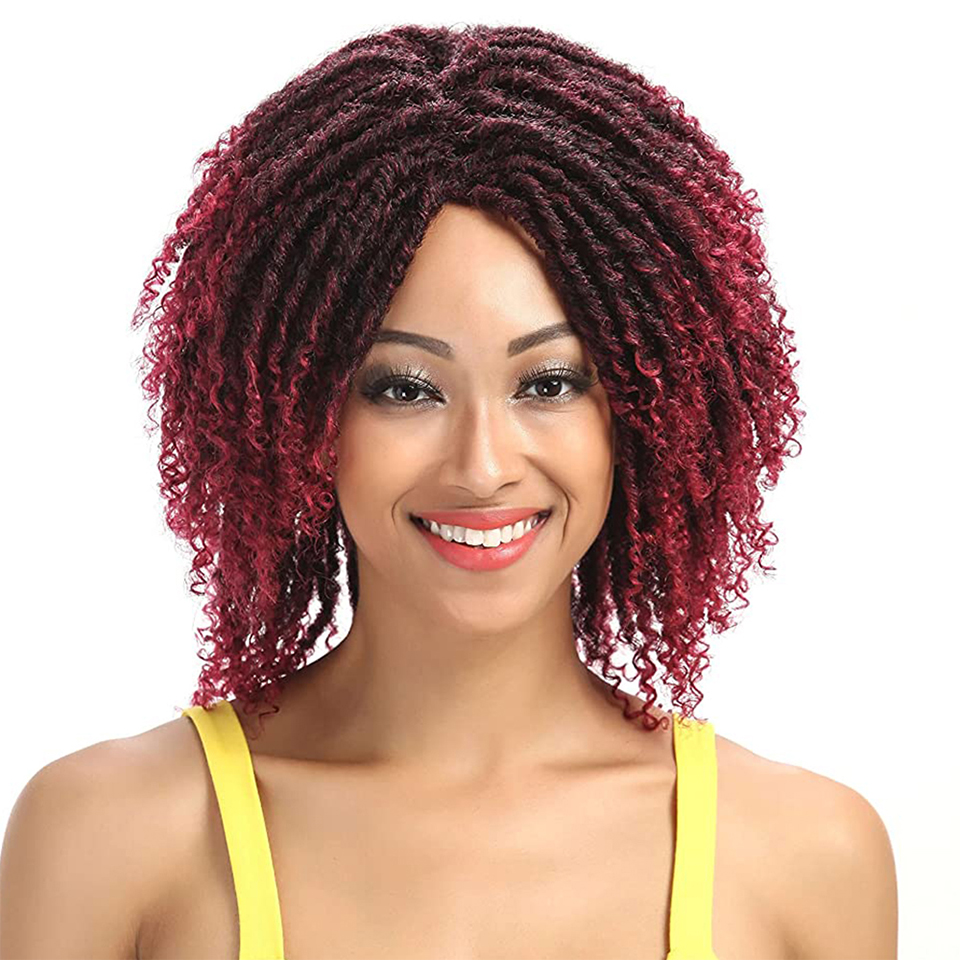 FASHION IDOL Soft Short Synthetic Wigs For Black Women 14 Inch High Temperature Fiber Dreadlock Ombre Burg Crochet Twist Hair