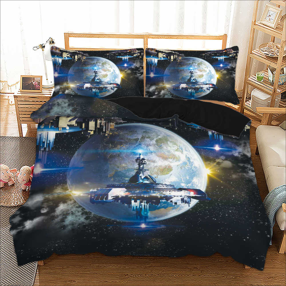Mordern Hot Sale Space Science Fiction Bed Linen Set Twin Full Queen King Size 3D Print Duvet Cover set for Boys Adult