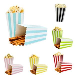 12pcs Colorful Stripe Paper Popcorn Boxes Wedding Decor Pop Corn Favor Bags Christmas Birthday Party Supplies(China)