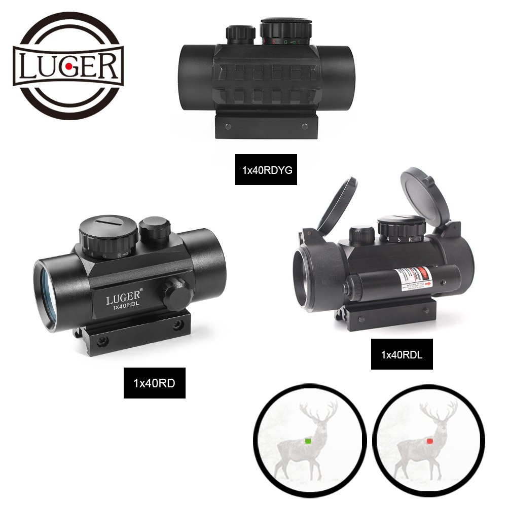LUGER 1x40 Red Green Dot Sight Hunting Scope 11mm 20mm Rail Mount Collimator Sight Tactical Scope Airsoft Gun Riflescopes