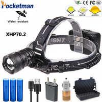 100000 Lumen 100W XHP70.2 puissant LED phare lanterne tête lumière Zoomable USB LED Torches 18650 lampe de poche pour Camping randonnée