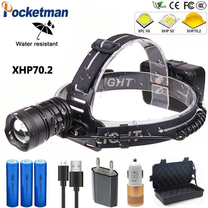 Plus lumineux 100W XHP70.2 puissant LED lampe frontale lanterne phare Zoomable USB LED Torches 18650 lampe de poche pour Camping randonnée