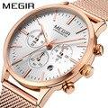 MEGIR женские часы модные водонепроницаемые хронограф кварцевые часы многофункциональные часы из нержавеющей стали ремешок Дата часы