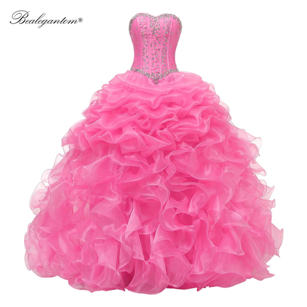 Pink Stock Quinceanera Dresses 2021 Sweethear Ball Gown Tulle Beads Sweet 16 Dress Prom Party Gown Vestidos De Quinceanera BM359