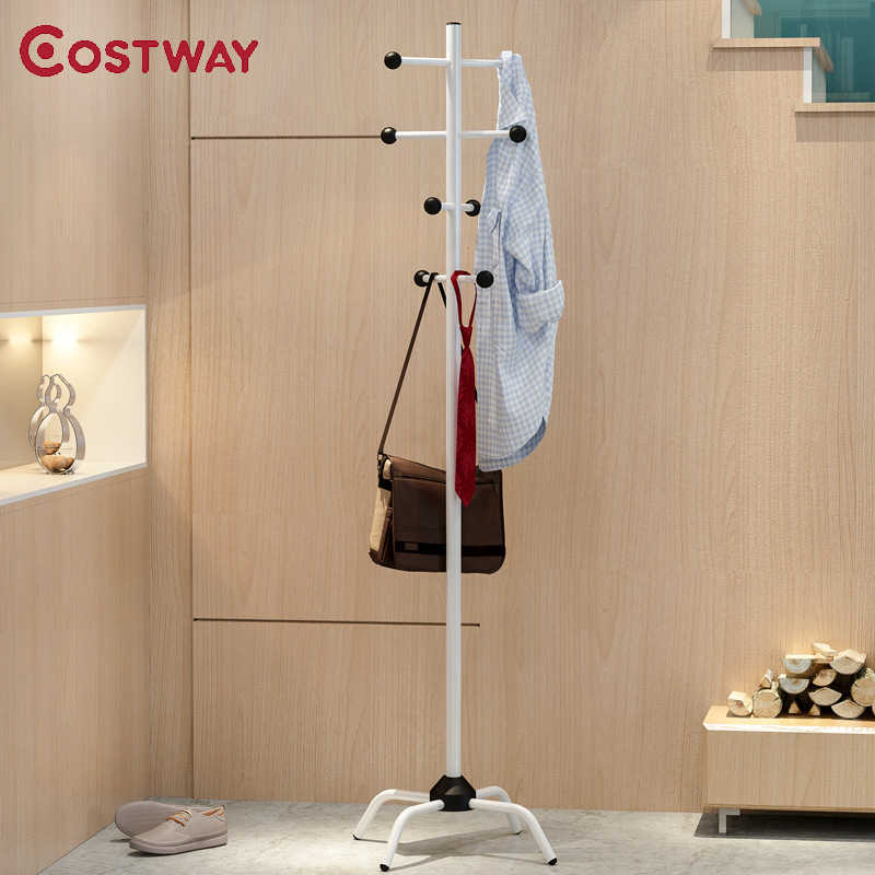 COSTWAY Clothes Hanger Coat Rack Floor Hanger Storage Wardrobe Clothing Scarf Hat Racks Porte Manteau Kledingrek Perchero De Pie