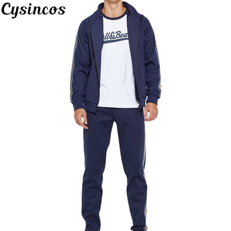 CYSINCOS 2019 Men Sportswear Hoodies Set Spring Suit Clothes Tracksuits Male Sweatshirts Coats Track Suits Joggers Plus Size