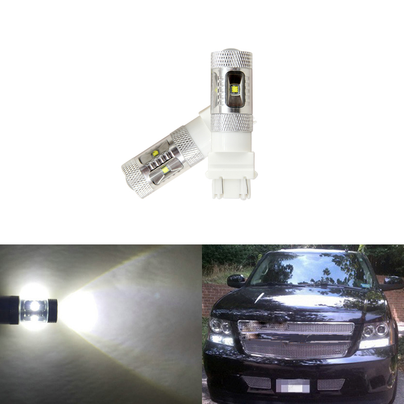 For Chevrolet Avalanche 2007-2013 White <font><b>Led</b></font> Daytime Running Lights Ultra Bright Reflector 3157 <font><b>T25</b></font> <font><b>Led</b></font> Bulbs Daylights image