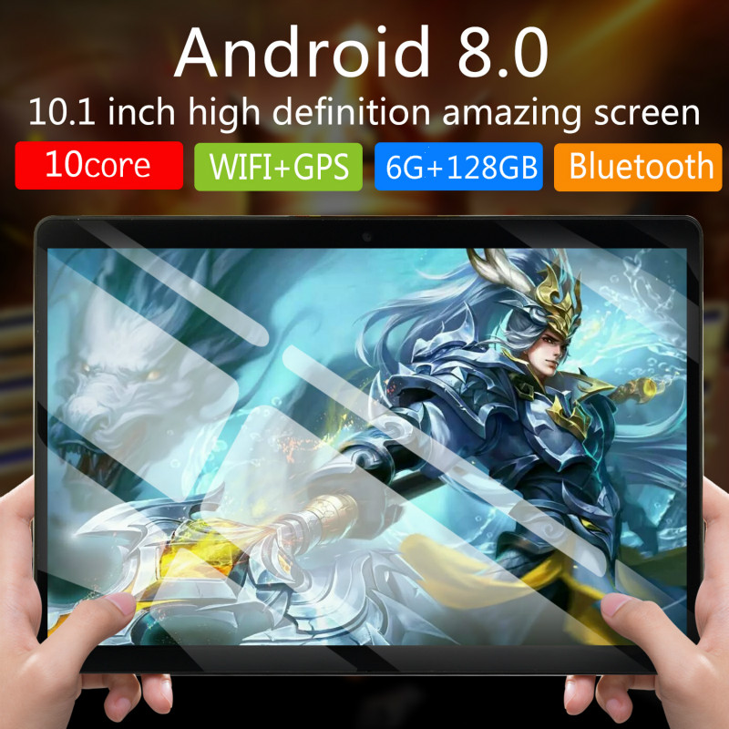 6+128GB 10 Inch Tablet PC 4G Android 8.0 10 Core Super Tablets Ram 6GB Rom128GB WiFi GPS 10.1 Tablet IPS  Dual SIM GPS