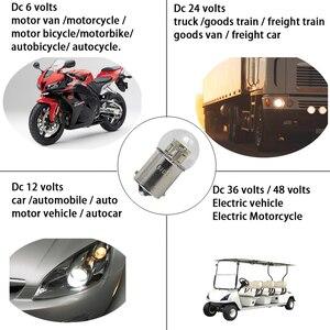Image 5 - 6X led רכב אורות S25 p21w 1156 BA15S 1157 BAY15D BA15D 1W זכוכית כוס Canbus Dc 6 12 24 36 48 V וולט הנורה אוטומטי הפעל אות אור