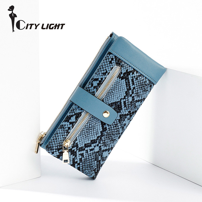 Serpentine Women Long Wallet Many Departments Female Wallets Clutch Lady Purse Zipper Phone Pocket Card Holder Ladies Carteras