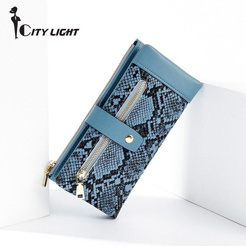 Serpentine Women Long Wallet Many Departments Female Wallets Clutch Lady Purse Zipper Phone Pocket Card Holder Ladies Carteras