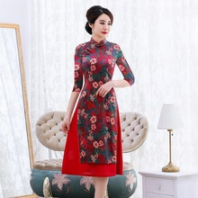 2019 New Arrival And Winter New Oder Silk Cheongsam Improved National Style Fashion Daily Banquet Middle aged Old Mothers Dress