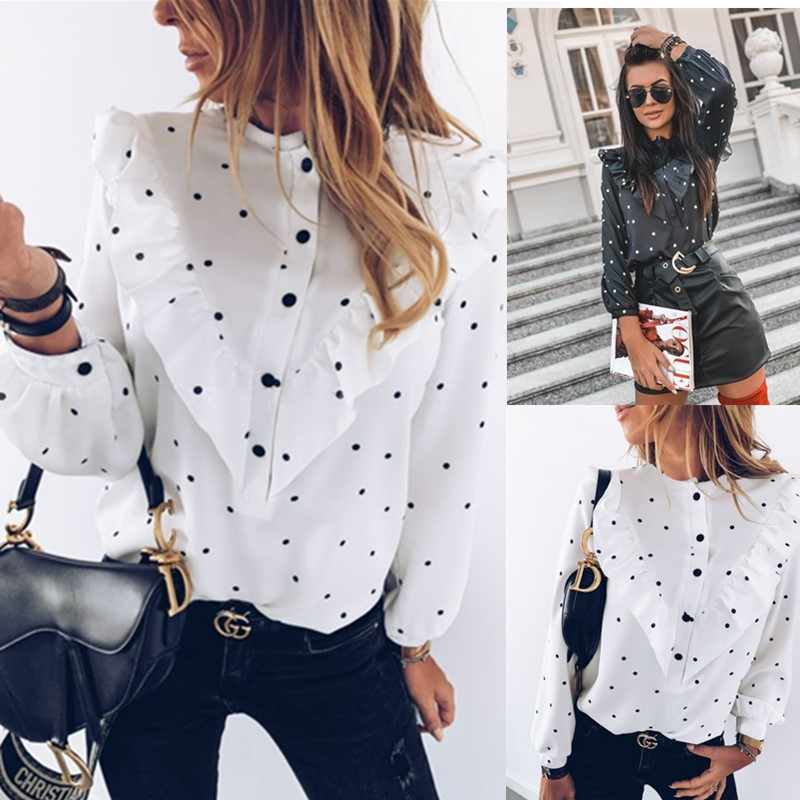 2020 Fashion Autumn Women Ladies Blouses And Tops Casual Ruffles Dot O Neck Shirt Long Sleeve Blouse
