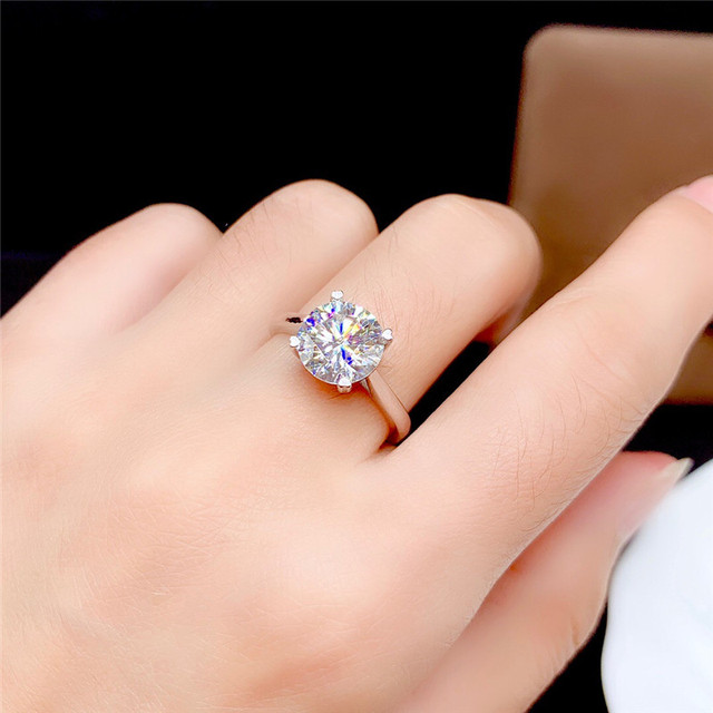 Moissanite Ring 0.5CT 1CT 2CT 3CT VVS Lab Diamond Fine Jewelry for Women Wedding Party Anniversary Gift Real 925 Sterling Silver 6