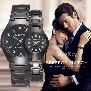 MCYKCY fashion bright black steel belt men and women couple watches simple diamond inlaid British watches Christmas gifts