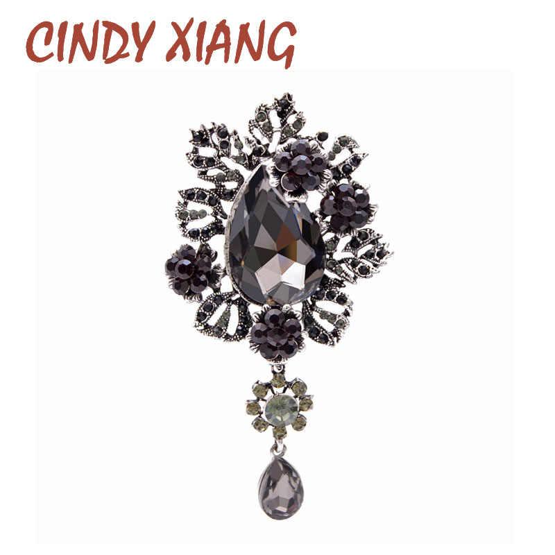 Cindy Xiang Kristal Besar Air-Drop Bros untuk Wanita Musim Dingin Desain Elegan Vintage Fashion Pin 2 Warna Tersedia Baik hadiah