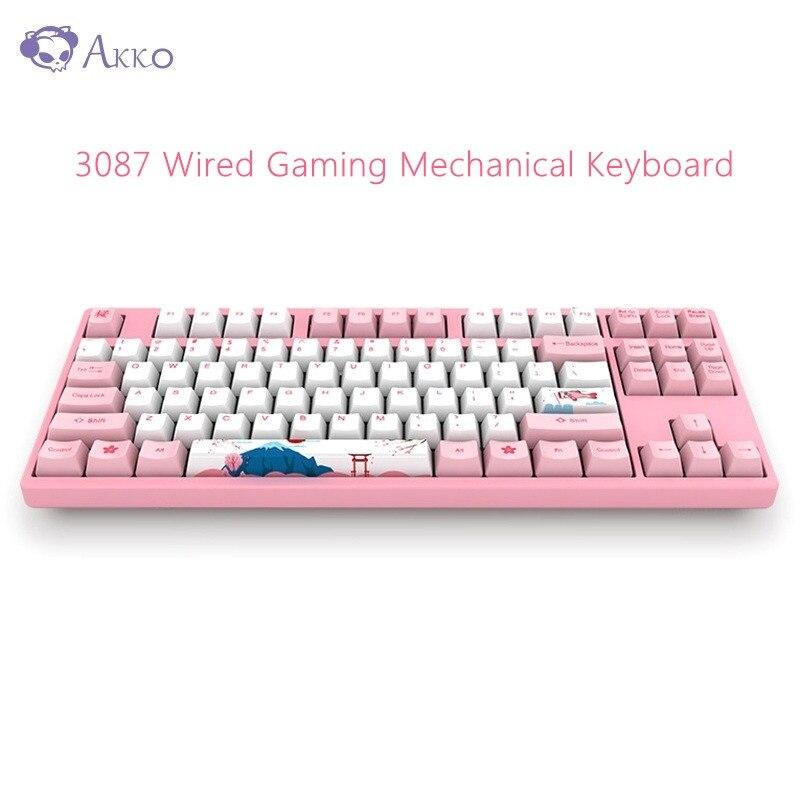 Original AKKO 3087 clavier mécanique de jeu 87 touches 85% PBT USB type-c clavier de jeu filaire pour ordinateur Gamer