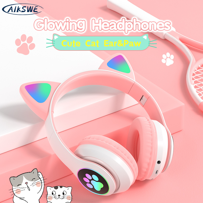 AIKSWE Bluetooth Headphones Glowing Cute Cat&Ear Paw LED Girls Gift Kids Wireless Headset HIFI Stereo Bass 3.5mm AUX With MIC
