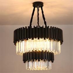 Nowoczesne lampy kryształowe żyrandole do salonu willa luksusowe oświetlenie restauracji lampy sufitowe do montażu na ścianie czarny żyrandol