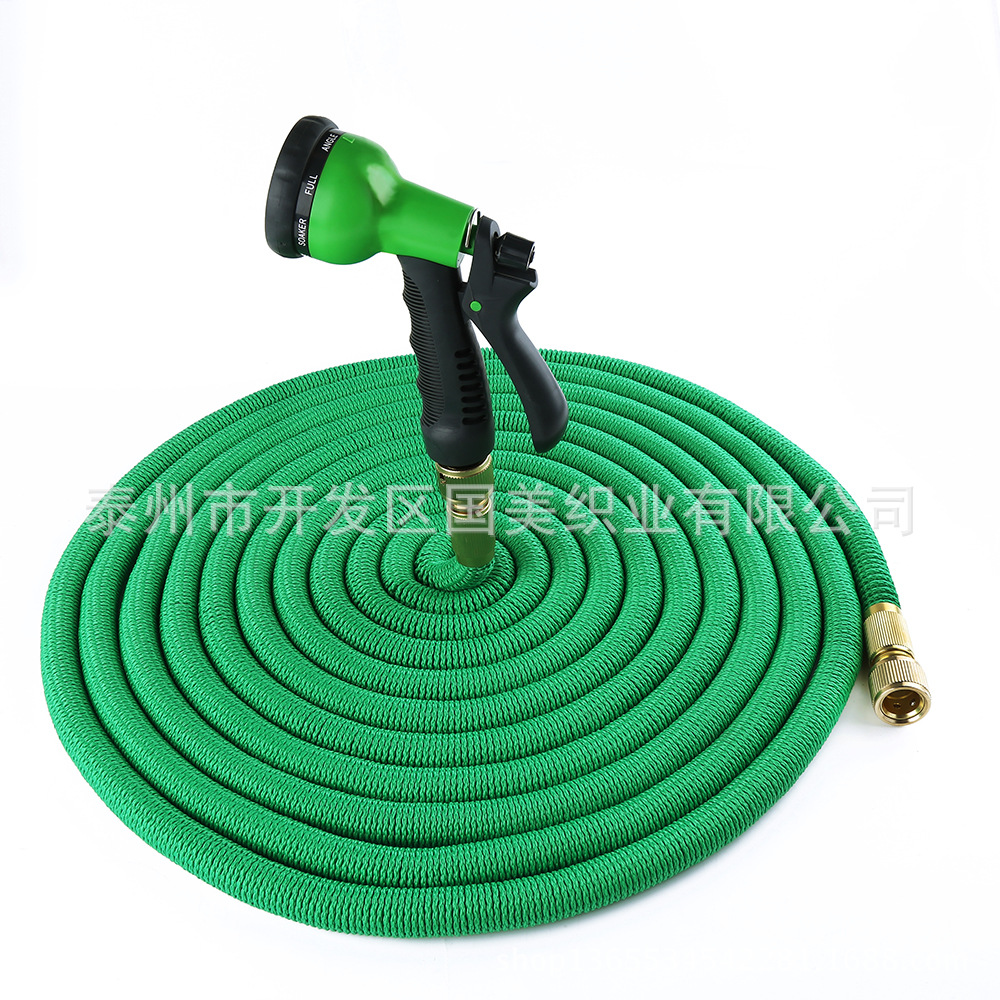 Asian Edition 50FT Wear Compression Garden Hose Natural Latex Household Vehicle Cleaning 3 Times Telescopic Pipe