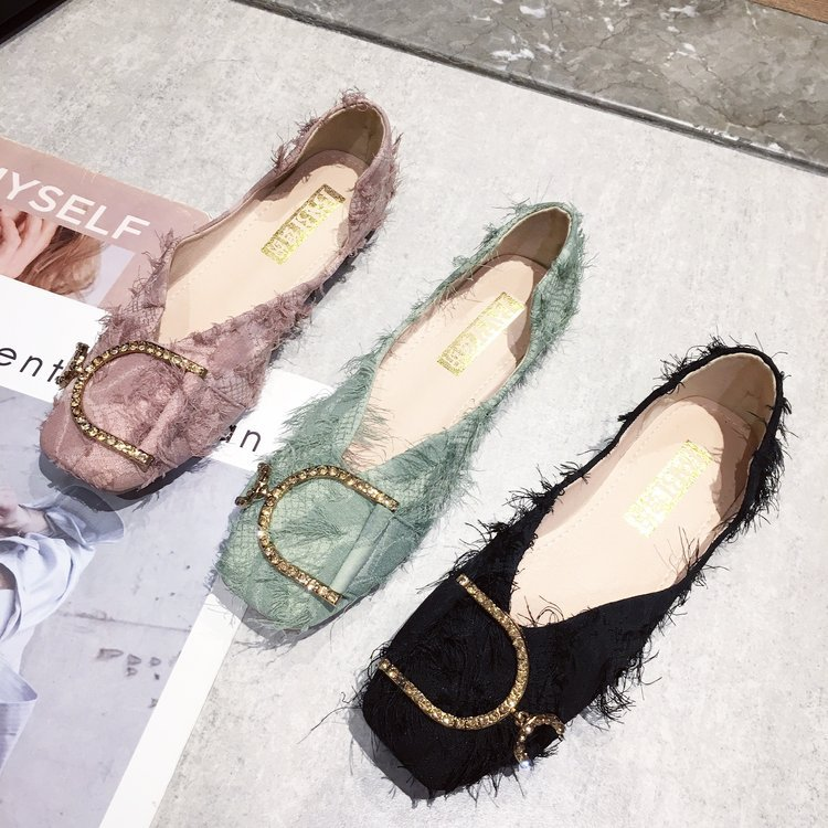Women's Flats Fashion Toe Crystal Summer Non-Slip Casual Solid Square Leisure All-Match