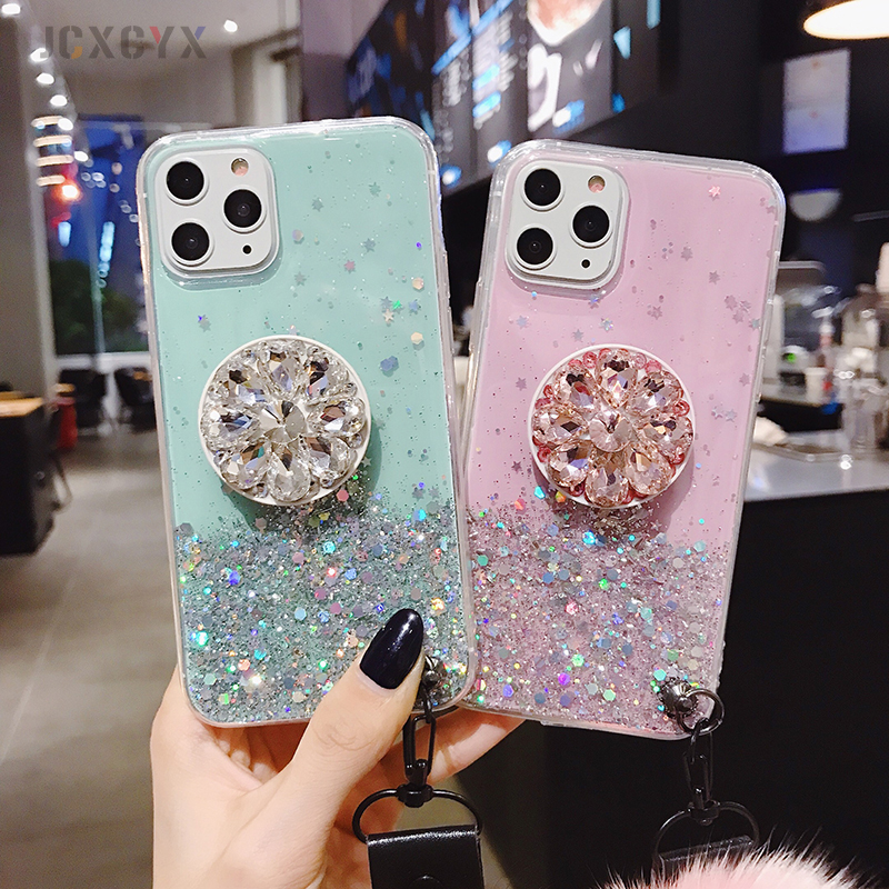 H6762f54356e746d9b81e5c2d6f60bf62Q Luxury diamond cute hair ball lanyard bracket soft case for iphone 7 X XR XS 11 pro MAX 8 6S plus for samsung S10 S8 S9 Note A50