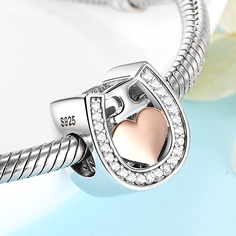 Wostu Endless Love S925 Sterling Silver Charm Bead Fit Jewelry With Pink Crystal