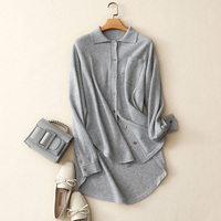 european brand women's fashion long sleeve turnd down collar solid casual quality 100% cashmere cardigan sweaters