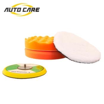 цена на 6 Inch High Gross Polishing Buffer Pad Set Adapter For Car Polisher 150mm Buffing Self adhesive 4Pcs Per Set
