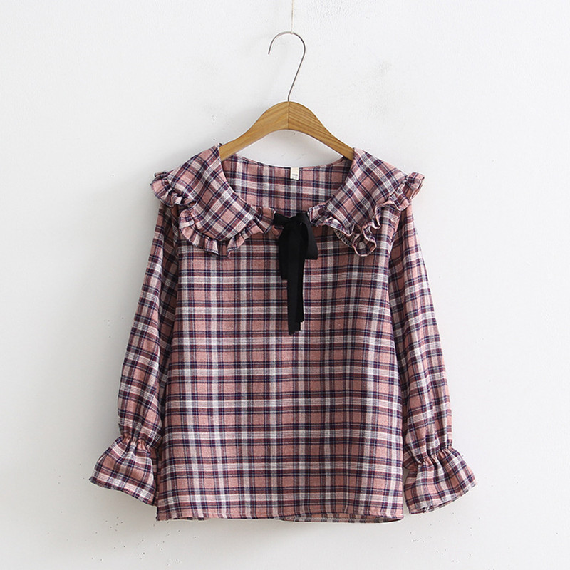 Japanese Style Soft Sister Kawaii Lolita Bowtie Frilly Peter pan Collar Plaid Shirt Long Sleeve Women Cotton Blouses Tops