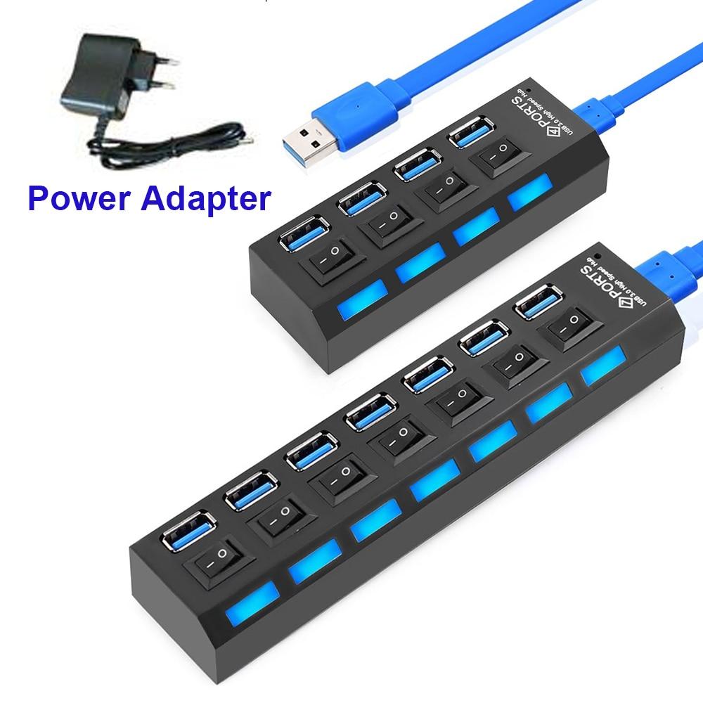 USB HUB 3.0 HUB USB Splitter Multi USB 3.0 2.0 HUB USB3 4/ 7 Port Multiport Hab PC Accessories With Power Adapter For Computer