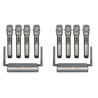 4 Channel Wireless Microphone System Quad UHF Wireless Mic 4 Handheld Mics Long Distance Fixed Frequency