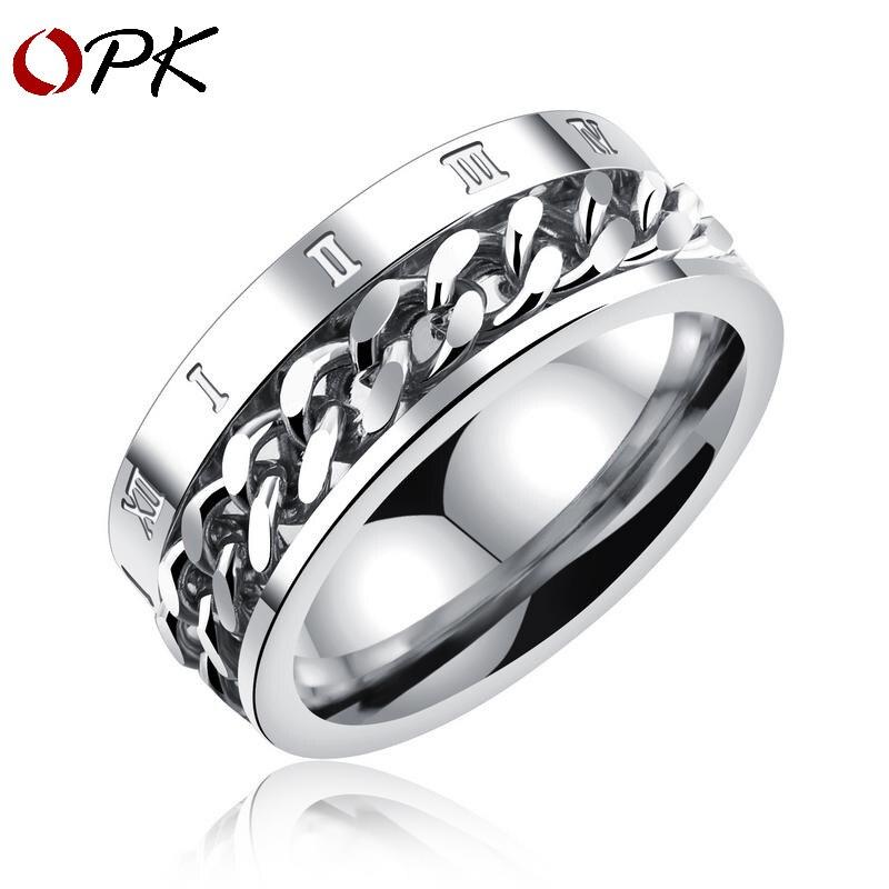 Bague OPK haute qualité, anneau numérique romain personnalisé en acier titane noir, chaîne rotative, anneau de chaîne de câble, lettrage