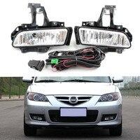 Car Fog Light Assembly Kit For Mazda 3 M3 2010 2012 Front Bumper Lamp Daytime Running Light Car Headlight Bulb Accessories