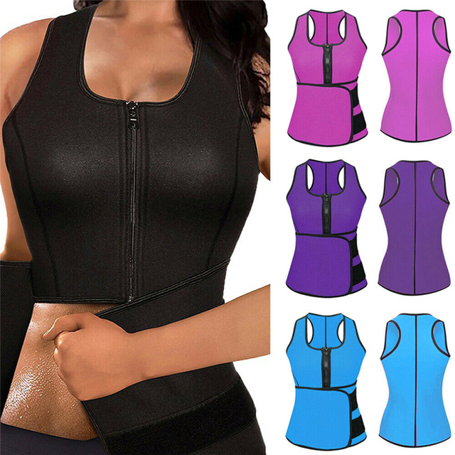 Women Body Shaper Vest Tank Plus Size Belly Belt Sweat Trainer Shaper Corset Waist Workout Adjustable Slim Female Shapewear