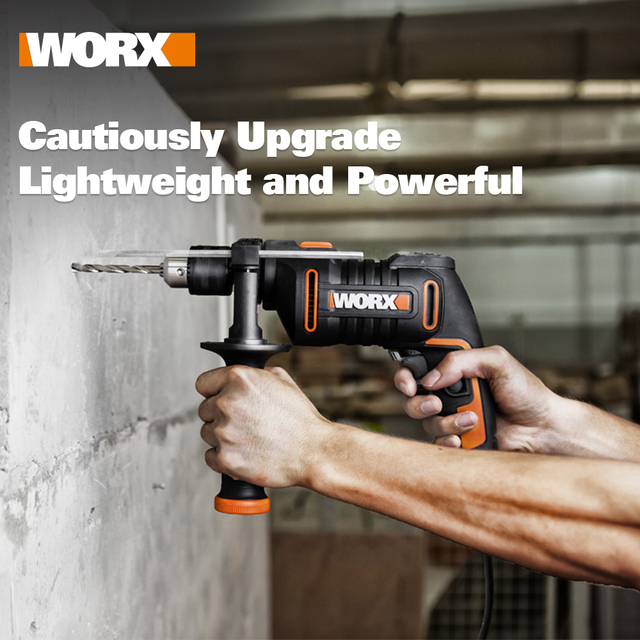 WORX 600W Impact Drill Electric Tools Screwdriver DIY WX317.2 Variable-speed Power Tools handheld 13mm keyless chuck + Tools box
