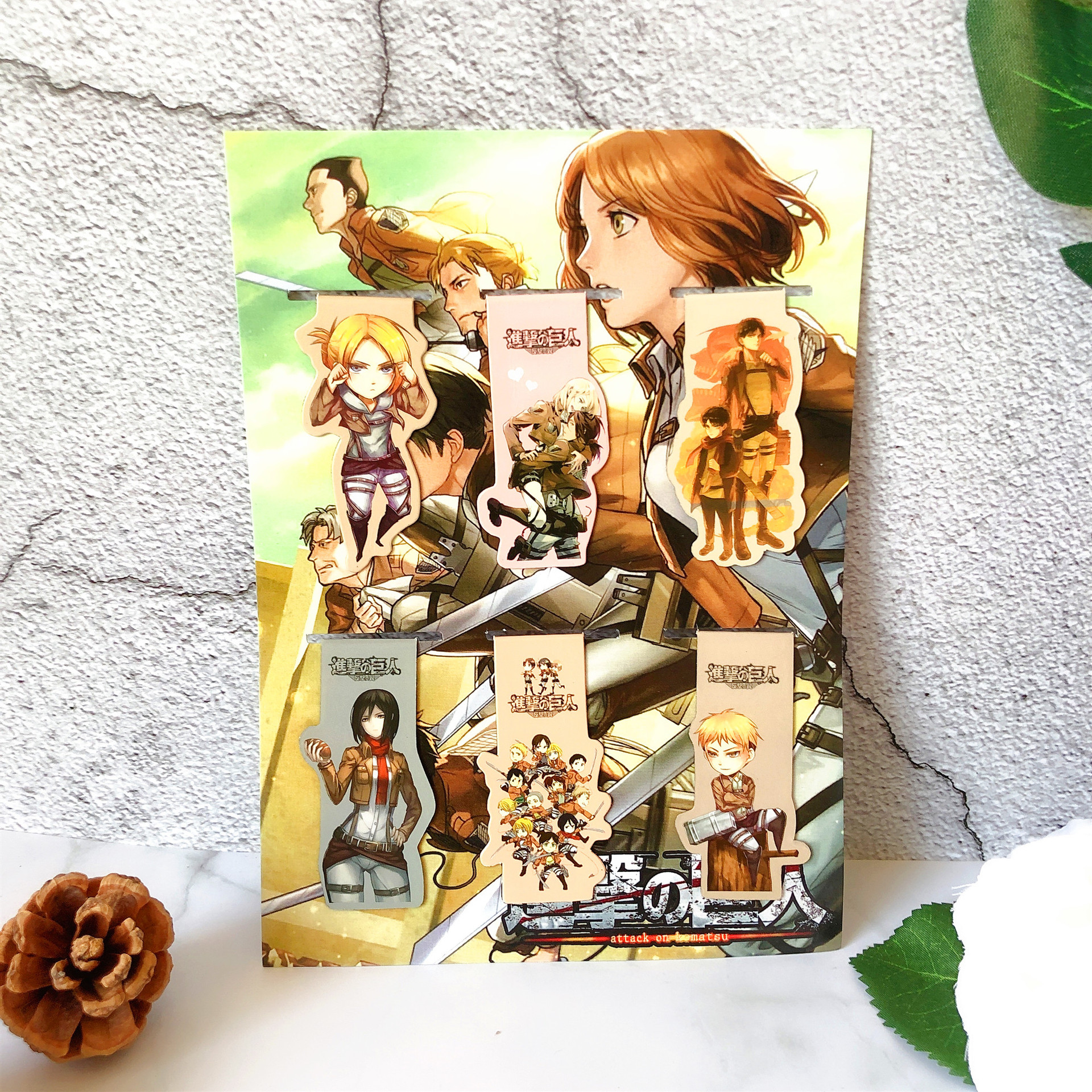 6pcs Shingeki no Kyojin Anime Magnetic Bookmark Cartoon Magnet Bookmark Child Student Kawaii Gift Bookmarks Office Stationery(China)