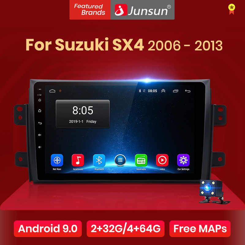 Junsun 2G + 32G Android 9.0 untuk Suzuki SX4 2008 2006-2011 2012 2013 Auto 2 DIN mobil Radio Stereo Player Bluetooth GPS Navigasi