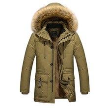 Верхняя одежда для мужчин размера плюс 3XL-5XL, зимний теплый пуховик с капюшоном, Одноцветный пуховик на утином пуху с длинным рукавом, зимняя верхняя одежда