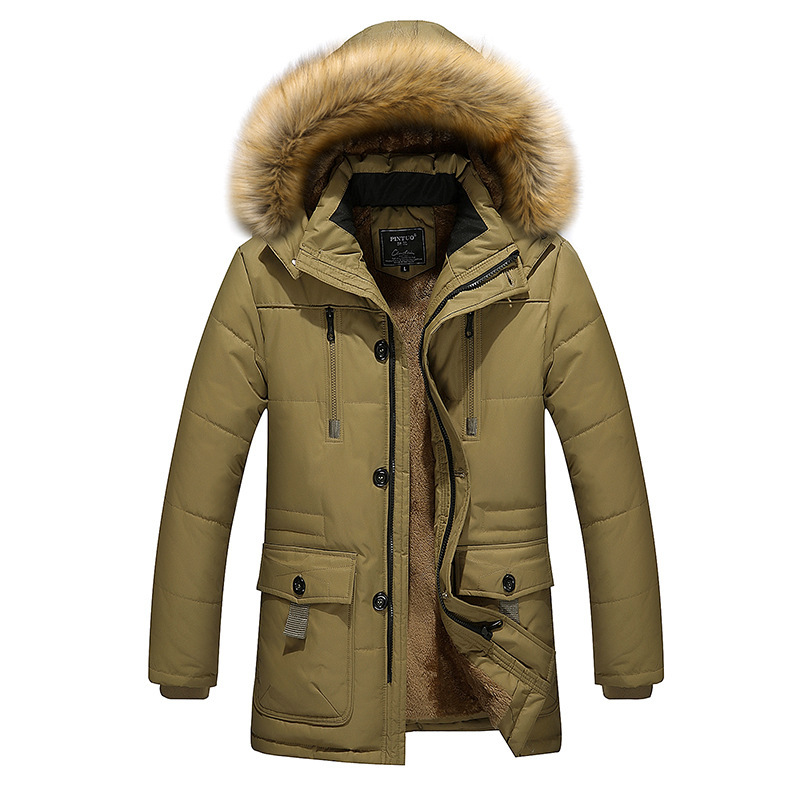 Plus Size 3XL-5XL Outdoor Overcoat For Men Winter Warm With Hooded Coat Solid Colour Full Sleeve Snow-outwear
