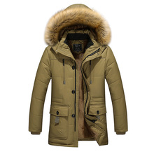 Plus Size 3XL-5XL Outdoor Overcoat For Men Winter Warm With Hooded Down