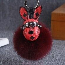 цена New Space Rabbit Fox Fur Keychain Star Rabbit Head Pendant Key Chain Plush Car Bag Hanging Decoration Keyring Cute Woman Gift онлайн в 2017 году