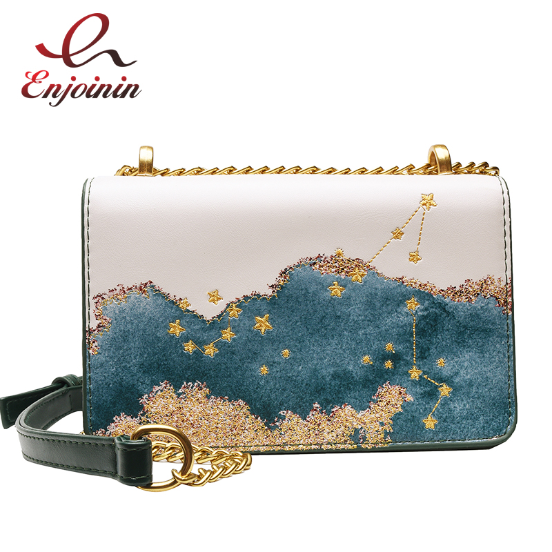Trendy Pu Leather  Women's Handbag Shoulder Bag Embroidered Geometric Pattern Purses And Totes Bag For Women Chain Bags Pouch